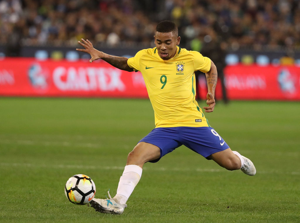 MELBOURNE, AUSTRALIA - JUNE 09: Jesus Gabriel of Brazil kicks the ball during the Brazil Global Tour match between Brazil and Argentina at Melbourne Cricket Ground on June 9, 2017 in Melbourne, Australia.  (Photo by Robert Cianflone/Getty Images)