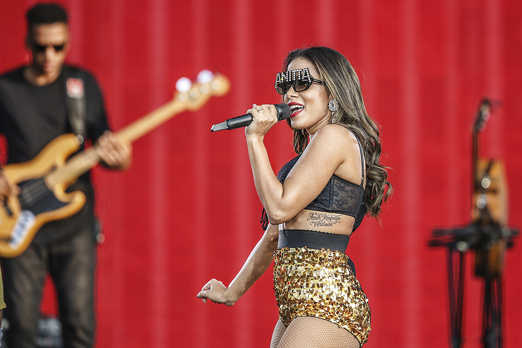 Brazilian singer Anitta performs at the Rock in Rio Lisboa 2018 music festival in Lisbon, Portugal, on June 24, 2018. ( Photo by Pedro Fiúza/NurPhoto via Getty Images)